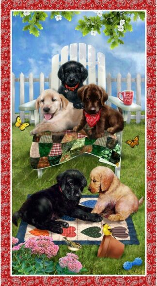 Pups in the Garden Panel
